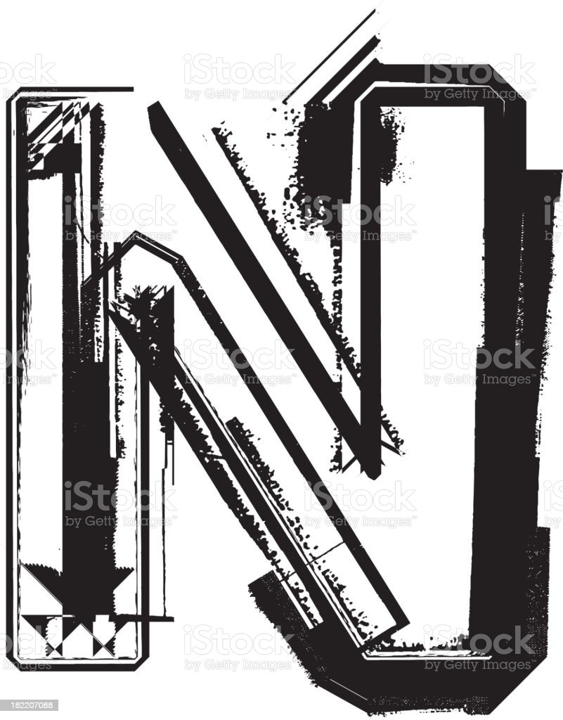 Grunge font. Letter N royalty-free stock vector art