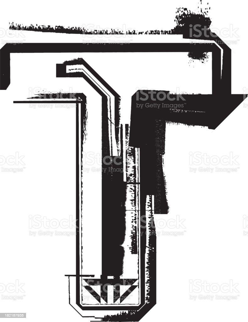 Grunge font. Letter T royalty-free grunge font letter t stock vector art & more images of alphabet