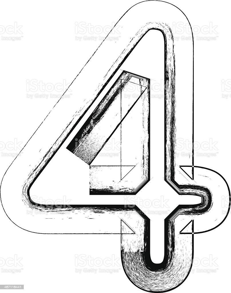 Grunge Font Number 4 Stok Vektor Sanati 4 Rakami Nin Daha Fazla