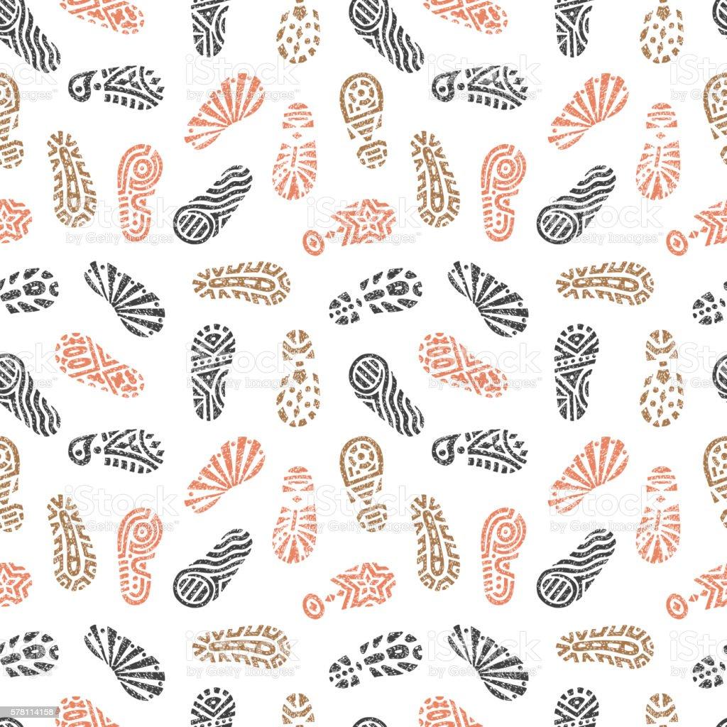 Grunge footprints Seamless pattern. Hand drawn doodles shoe tracks vector art illustration