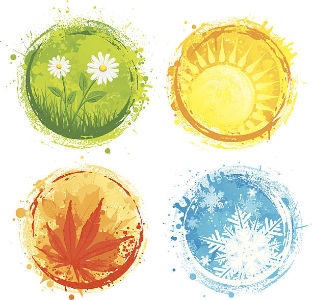 grunge four seasons - four seasons stock illustrations