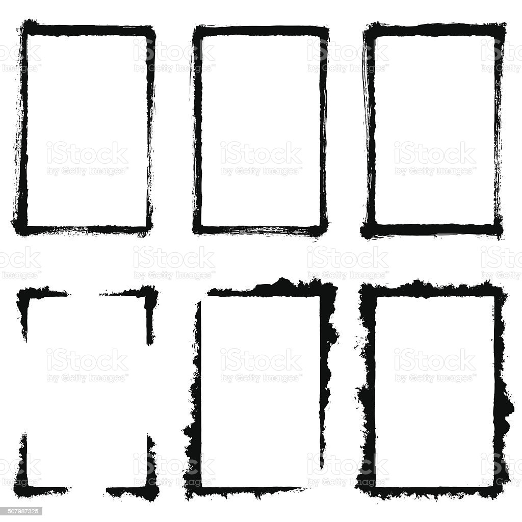 Grunge Frame Set vector art illustration