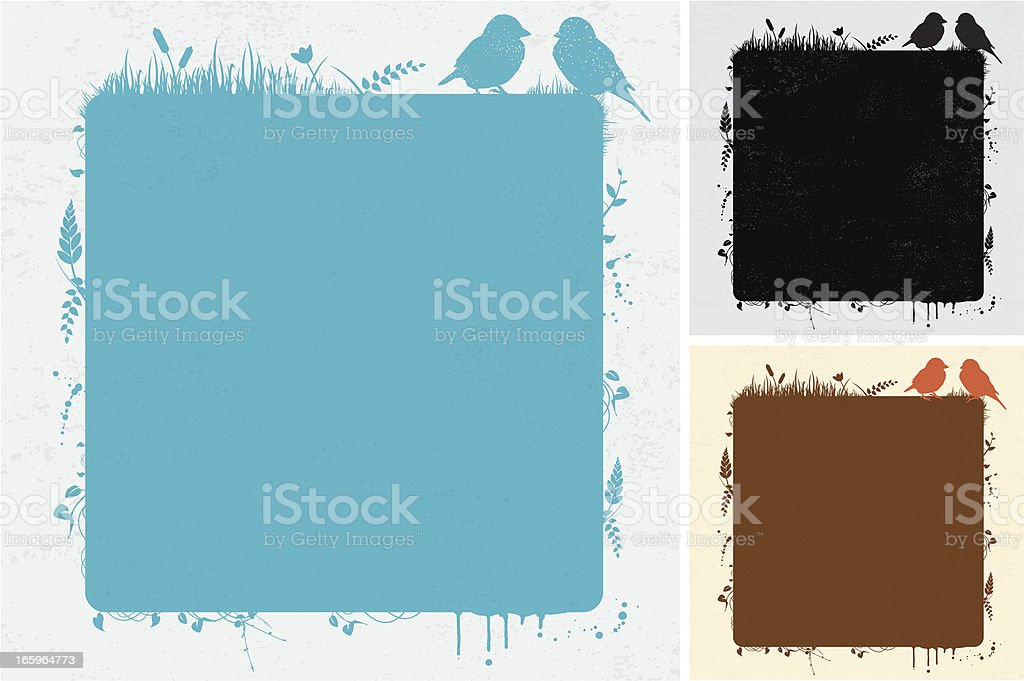 Grunge frame with birds vector art illustration