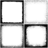 Set of four grunge texture border frames. Square design elements
