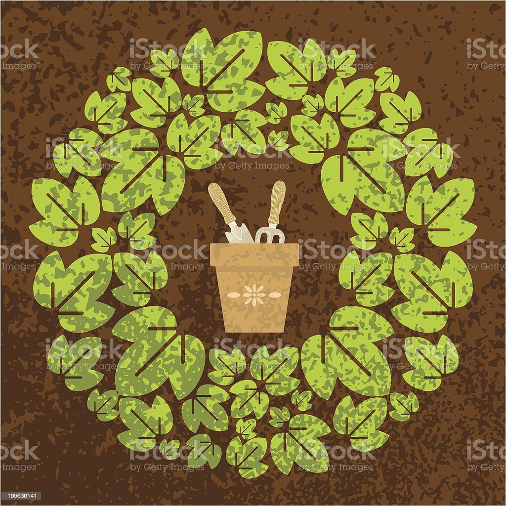 Grunge gardening wreath royalty-free grunge gardening wreath stock vector art & more images of antique