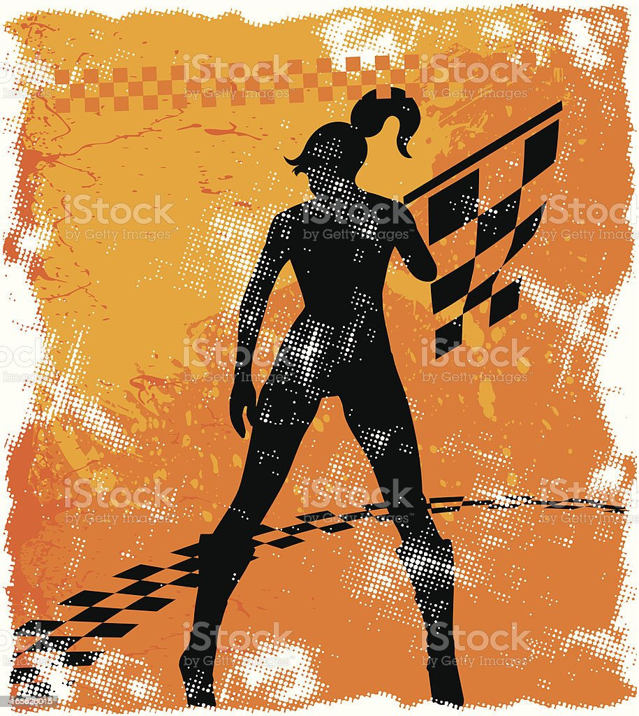 grunge girl with checkered flag royalty-free grunge girl with checkered flag stock vector art & more images of adult