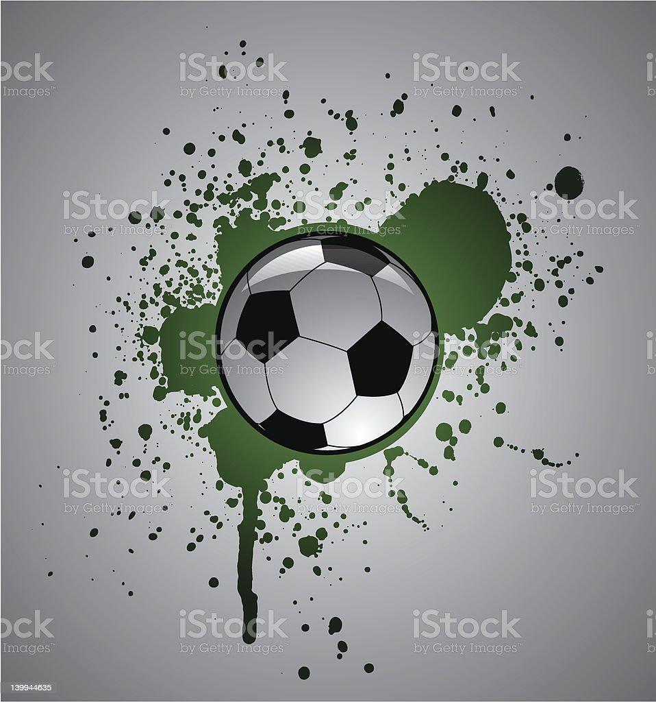 Grunge glossy soccer ball vector art illustration