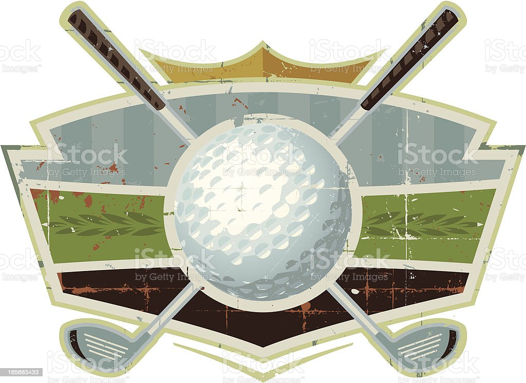 Grunge Golf Ball Crest with Clubs A weathered golf design containing golf clubs and golf ball. Perfect design for adding a logo or headline. Find more weathered sports designs in my portfolio.  RELATED IMAGES:  Coat Of Arms stock vector