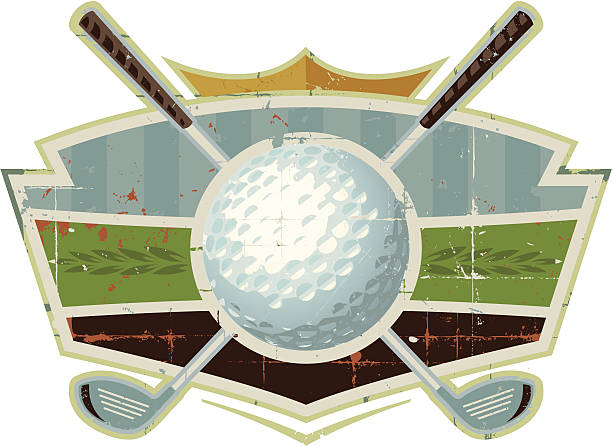 Grunge Golf Ball Crest with Clubs A weathered golf design containing golf clubs and golf ball. Perfect design for adding a logo or headline. Find more weathered sports designs in my portfolio.  RELATED IMAGES:  golf logo stock illustrations