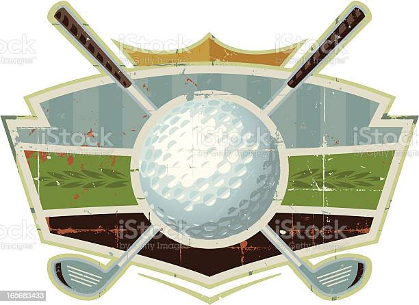 Grunge Golf Ball Crest With Clubs Stock Illustration - Download Image Now