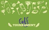 Grunge Golf club Tournament site header template. Poster or banner vector design