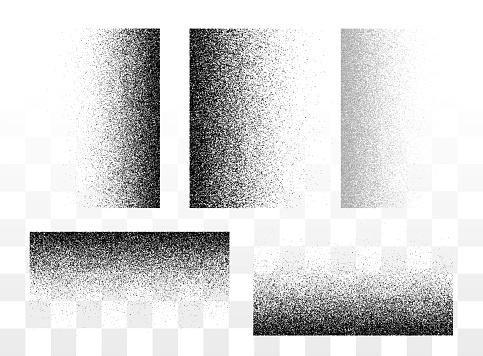 Grunge gradient spray horizontal and vertical textures set or stipple grainy transparent halftone sand vector background, splatter backdrop illustration