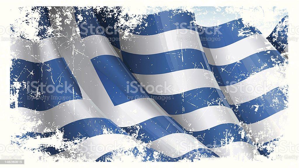 Grunge Greek Flag royalty-free stock vector art