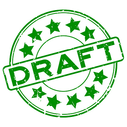 Grunge green draft with star icon round rubber seal stamp on white background