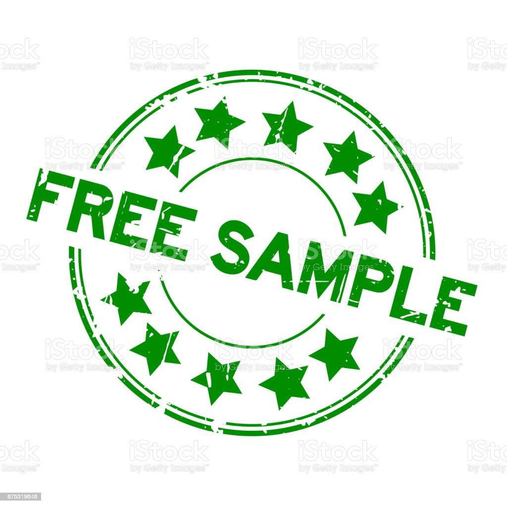 grunge green free sample with star icon round rubber seal stamp on white background royalty