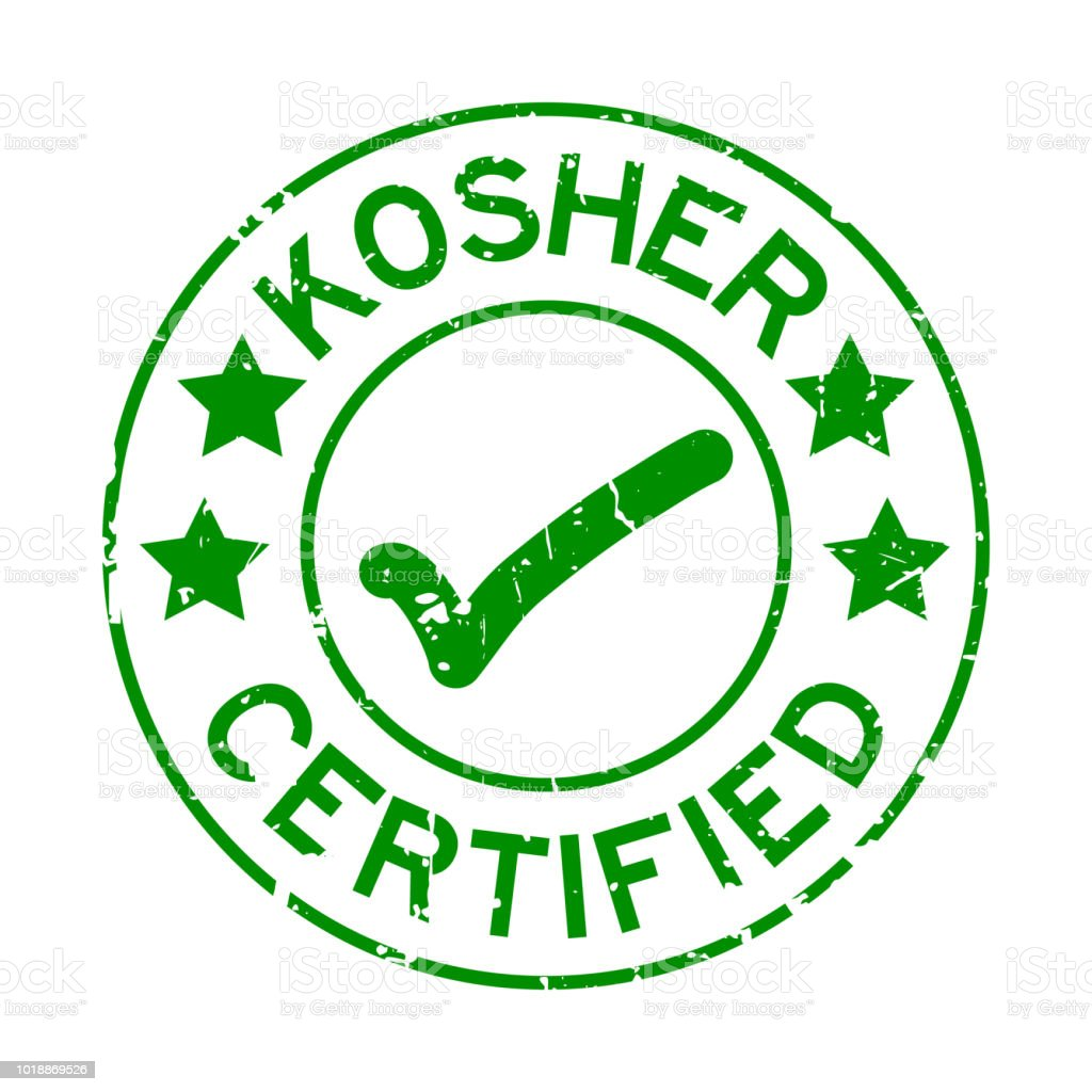 Grunge Green Kosher Certified Word With Mark Icon Round Rubber Seal