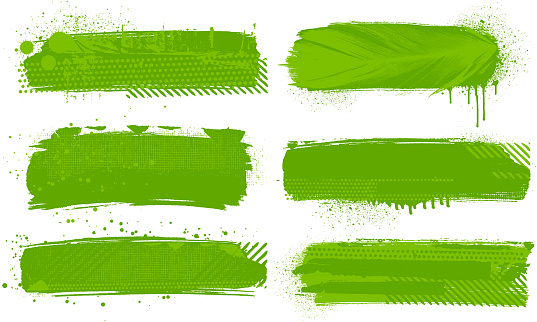 Grunge green paint strokes vector