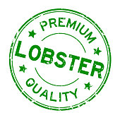 Grunge green premium quality lobster round rubber business seal stamp on white background