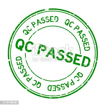 Grunge green QC passed word round rubber seal stamp on white background