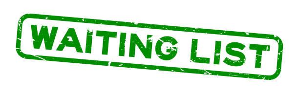 illustrazioni stock, clip art, cartoni animati e icone di tendenza di grunge green waiting list word square rubber seal stamp on white background - aspettare
