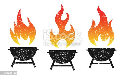 Grunge grill fire flame vector illustration image. BBQ Logo icon.