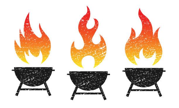 ilustrações de stock, clip art, desenhos animados e ícones de grunge grill fire flame vector illustration image. bbq logo icon. - grelhador