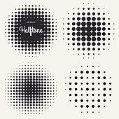 Grunge halftone drawing textures background set. Vector illustration