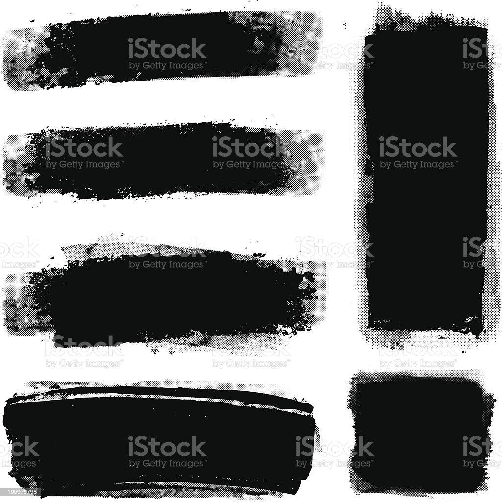 Grunge halftone paint strips vector art illustration