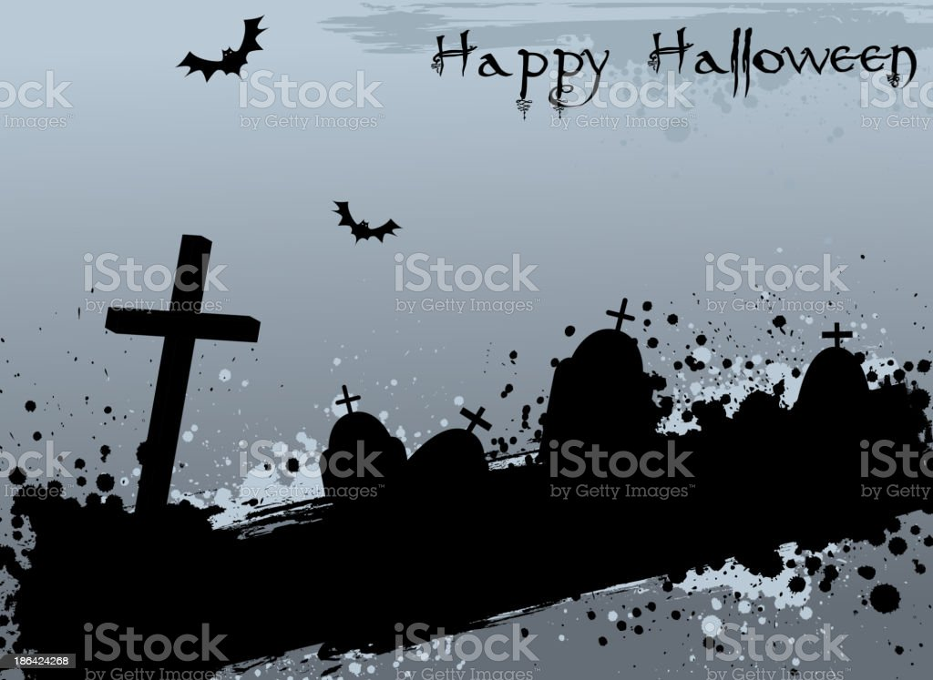 Grunge Halloween background with tombstones royalty-free stock vector art