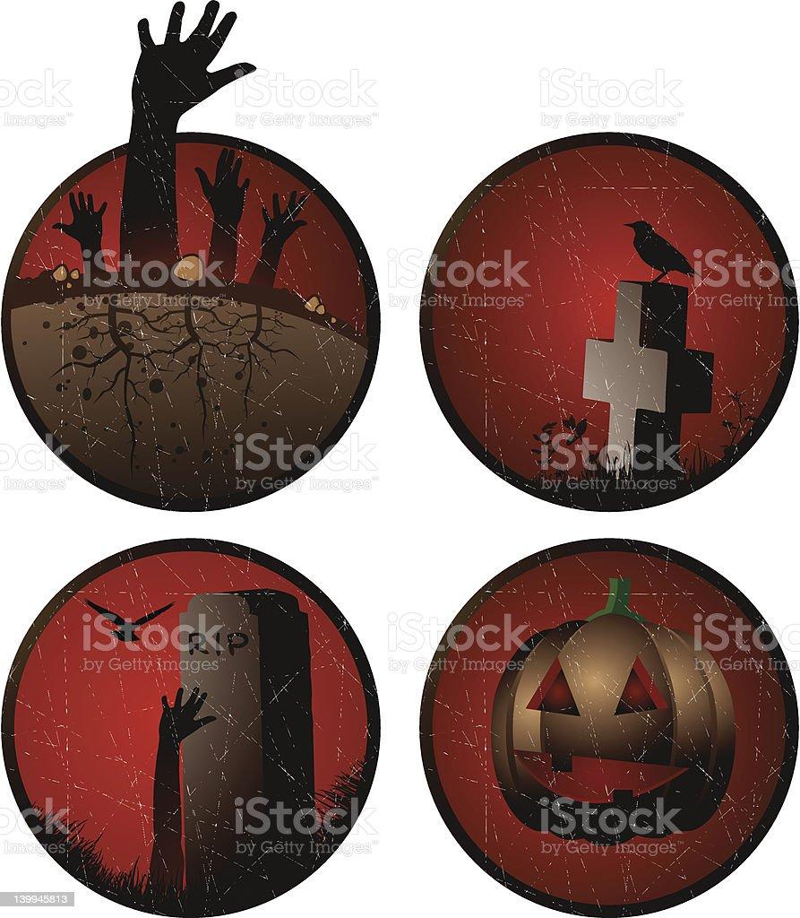 Grunge halloween stickers vector art illustration