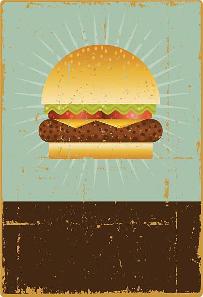 Grunge Hamburger Sign Editable vector file. ai8 eps and 300 dpi jpg files included. cheeseburger stock illustrations
