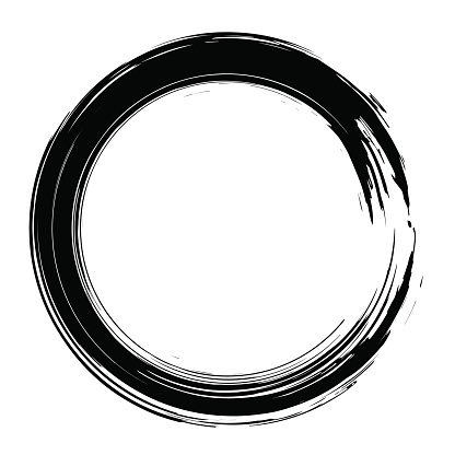 Grunge hand drawn black paintbrush circle shape. Curved brush st
