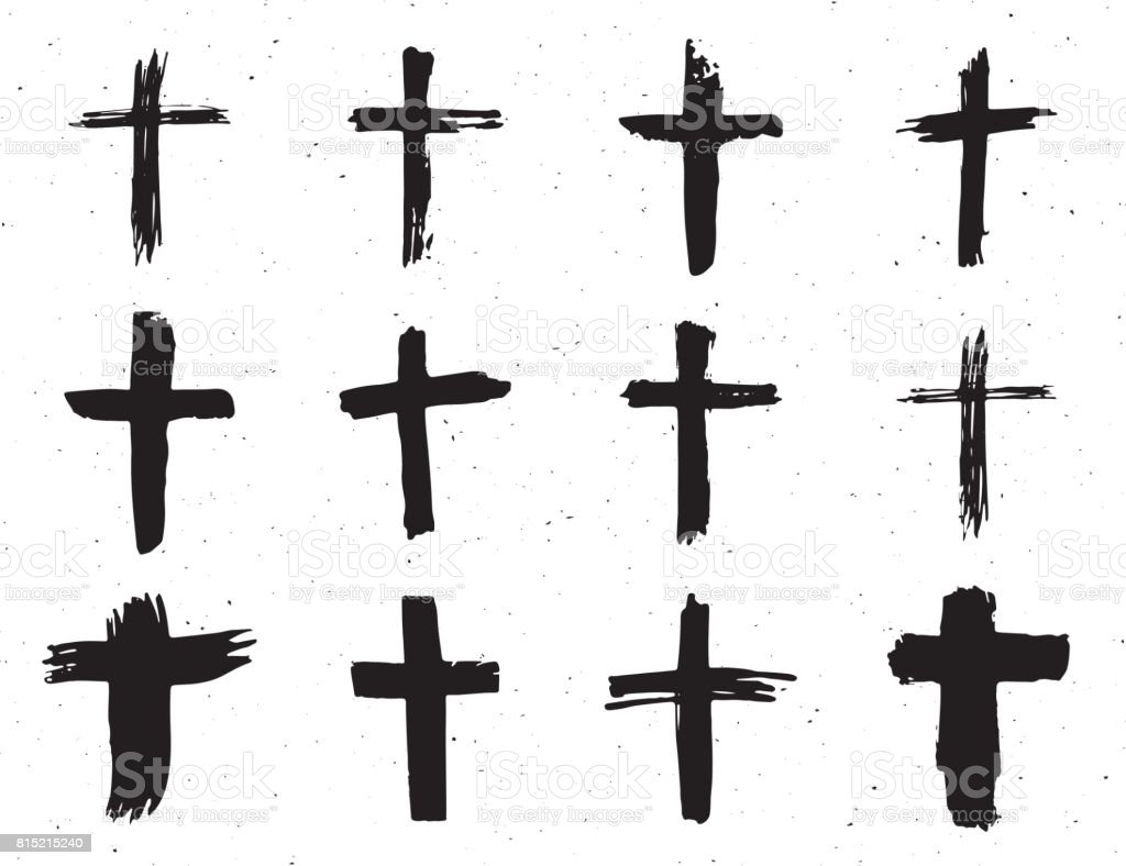 Grunge hand drawn cross symbols set. Christian crosses, religious signs icons, crucifix symbol vector illustration isplated on white background. vector art illustration