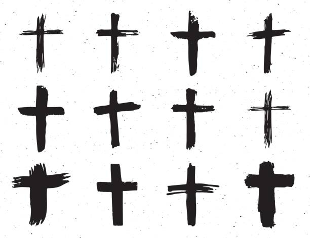 Grunge hand drawn cross symbols set. Christian crosses, religious signs icons, crucifix symbol vector illustration isplated on white background. Grunge hand drawn cross symbols set. Christian crosses, religious signs icons, crucifix symbol vector illustration isplated on white background religious celebration stock illustrations