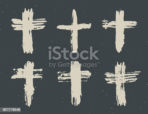 Grunge Hand Drawn Cross Symbols Set Christian Crosses Religious