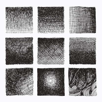 Grunge hand drawn textures, linear fashion prints. Abstract monochrome backdrops. Vector clip art collection isolated on white background. Design elements for cards, flyers, poster design templates.