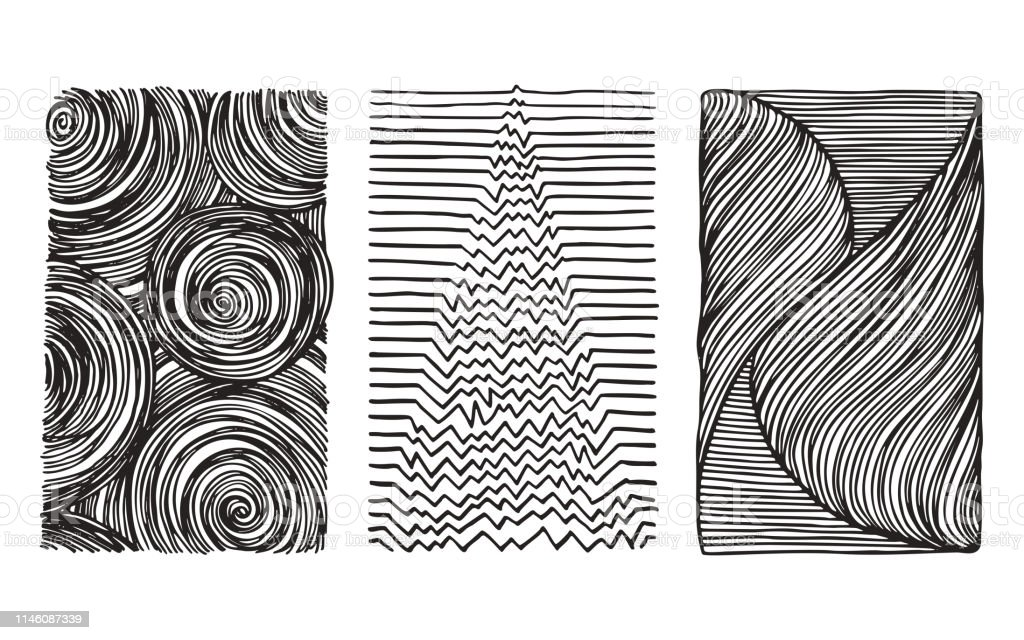 Grunge Hand Drawn Textures Linear Fashion Prints Abstract Monochrome Backdrops Vector Clip Art Collection Isolated On White Background Design Elements For Cards Flyers Poster Design Templates Stock Illustration Download Image Now