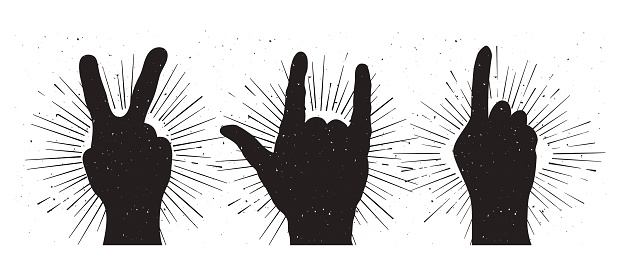 Grunge hand sign silhouettes: peace, rock and indication