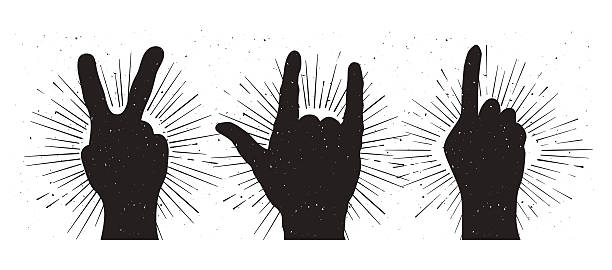 Grunge hand sign silhouettes: peace, rock and indication Grunge hand sign silhouettes: peace, rock and indication symbols of peace stock illustrations