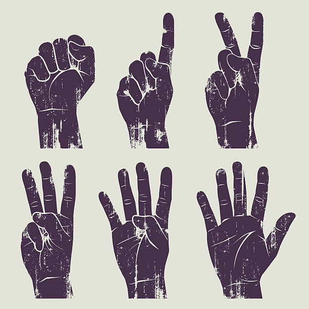 grunge hands 6 different grunge hands. symbols of peace stock illustrations