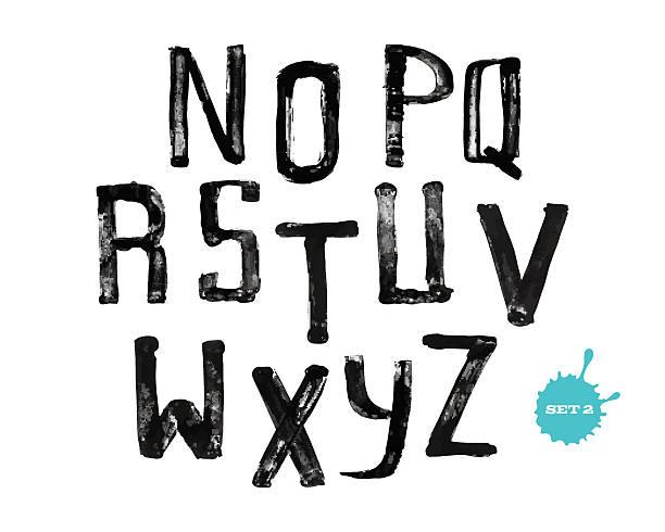 Grunge handgeschriebene alphabet, moderne Kalligrafie, in Großbuchstaben – Vektorgrafik
