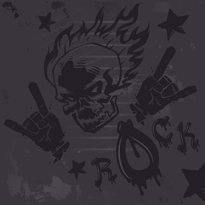 Grunge hard rock graffiti poster, vector illustration. Burning skull tattoo, rock club wall decoration, metal music band album cover, punk t-shirt print
