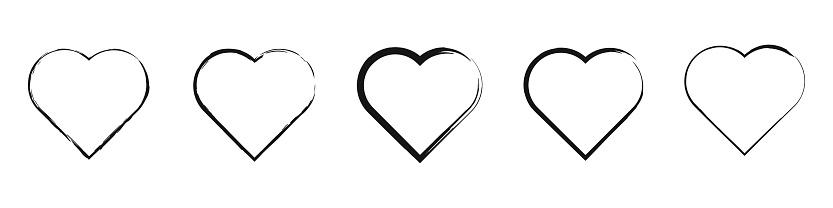 Grunge heart shape vector illustration. Brush black heart collection.