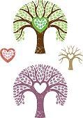 Grunge heart shaped tree