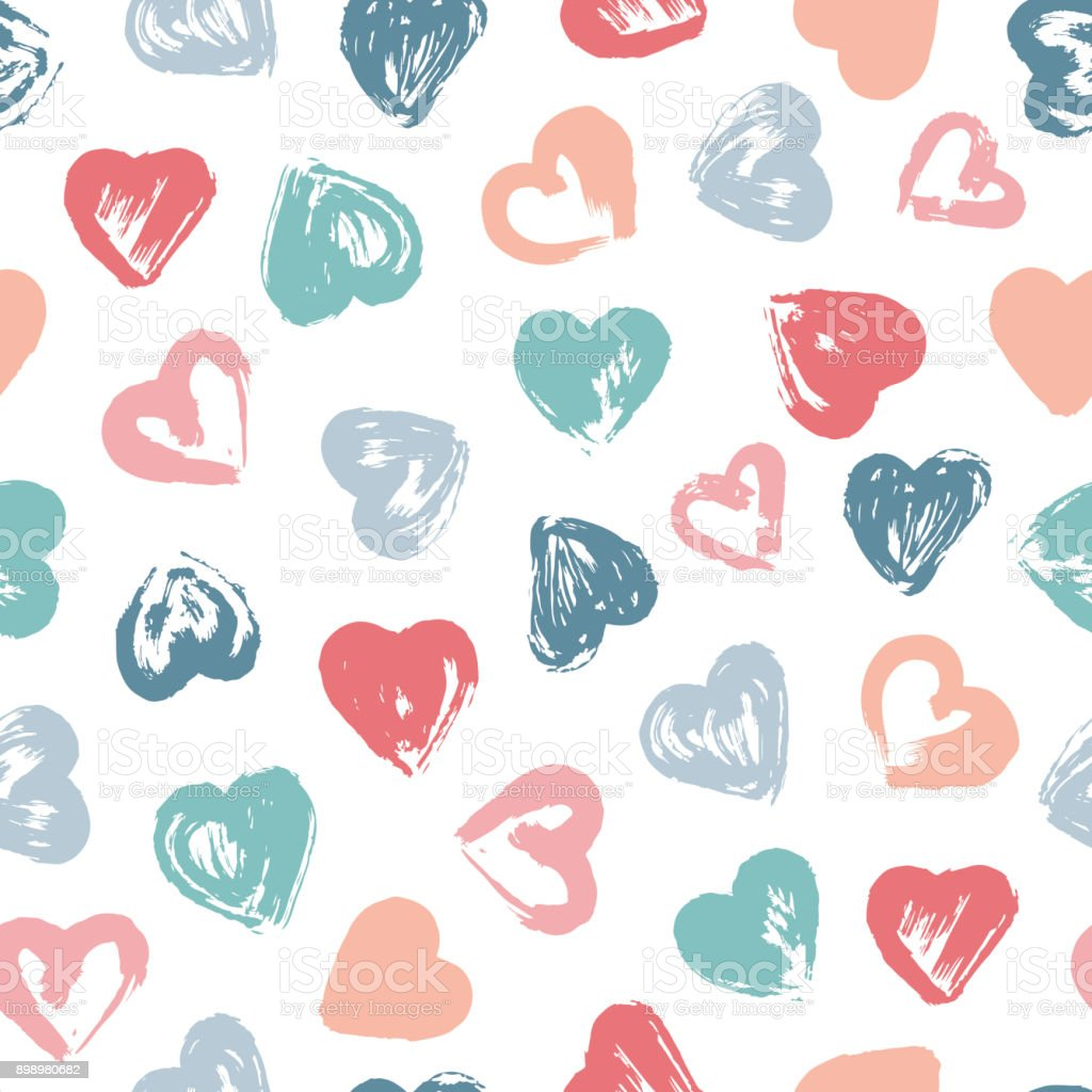 Grunge Kalpler Fırça Darbeleri Vektör Dikişsiz Desen Boya Seviyorum