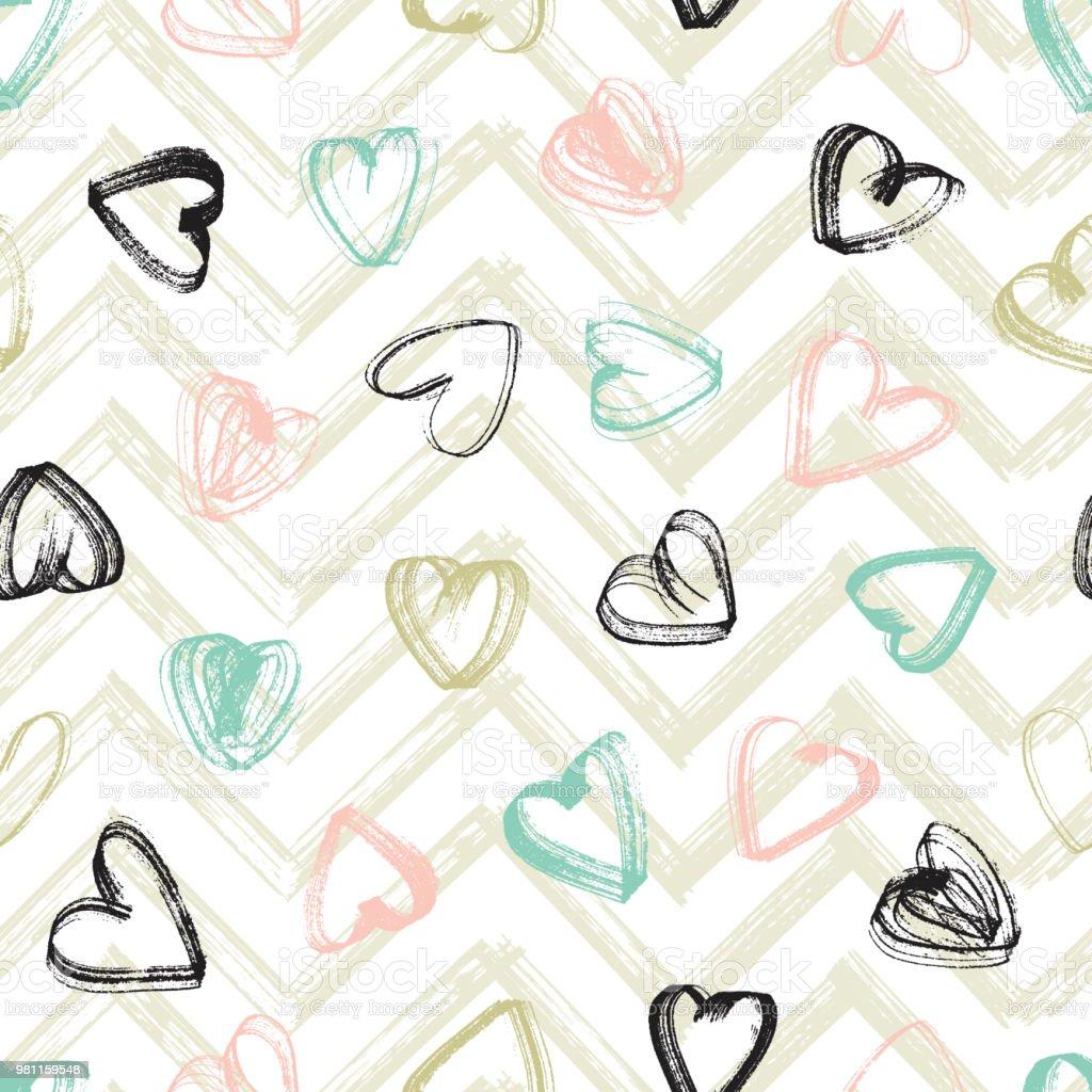 Grunge Kalpler Fırça Darbeleri Vektör Dikişsiz Desen Boya Sevgililer