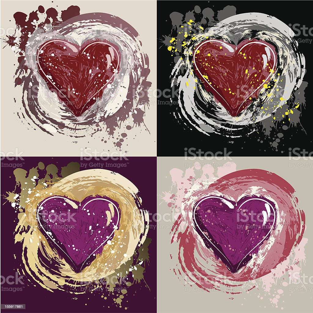 Grunge Hearts vector art illustration