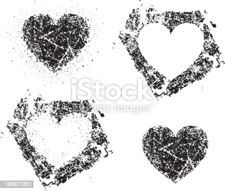 Grunge hearts. Can be put on any background and the white areas will show through.