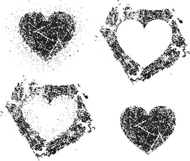 Grunge hearts vector art illustration
