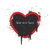 Grunge heart-shaped ink frame.